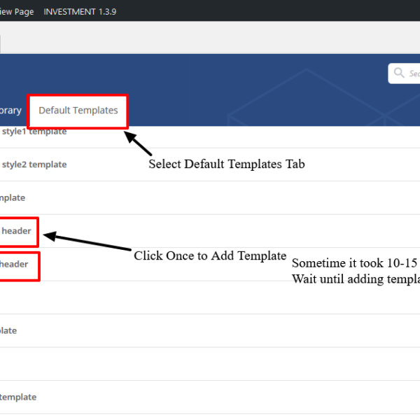 Insert Predefined onepage  template
